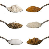 Food ingredients in spoons isolated — Stock Photo