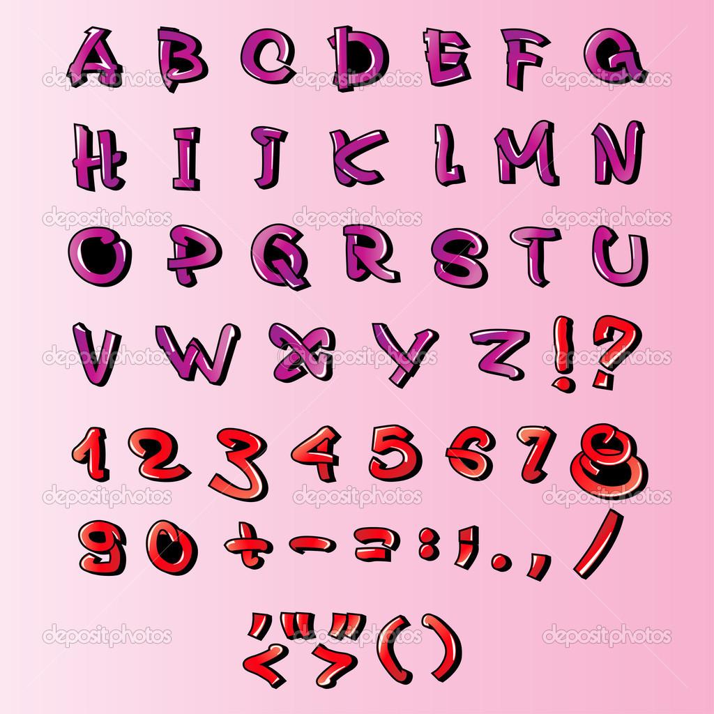 Cartone animato alfabeto lettere con numeri e segni di