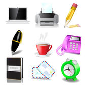 Vector illustration of Office and document icon set — Stock Vector