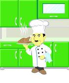 Cartoon Chef holding dish — Stock Photo