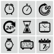 Clock and time icons. Vector illustration — Stok Vektör