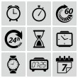 Clock and time icons. Vector illustration — Image vectorielle