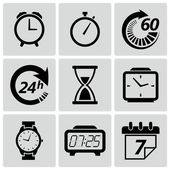 Clock and time icons. Vector illustration — Cтоковый вектор