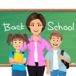 Back to school, School teacher with schoolchildren — Stock Vector