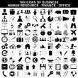 Set of business icons, human resource, finance and office — Stock Vector