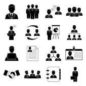 Iconos de gestión y recursos humanos — Vector de stock