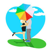 Couple kissing under umbrella — Stock Vector