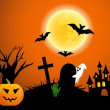 Halloween design background with forest pumpkin, spooky graveyard, zombie hand, graves, ghost, trees, bats, castle and moon — Stock Photo #34091511