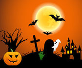Halloween design background with forest pumpkin, spooky graveyard, zombie hand, graves, ghost, trees, bats, castle and moon — Stock Photo
