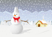 Winter scene with Snowman — Stockvektor