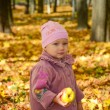 Little lovely girl holding an apple with bright autumn park on a - Stock Photo