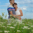 Young beautiful couple embracing each other in field — Stock Photo #38283441