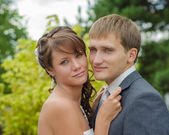 Happy wedding couple — Stockfoto