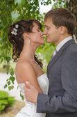 Young wedding couple kissing. Romantic portrait. — Foto Stock