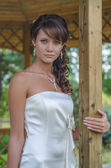 Close up photo of a young bride — Stock Photo