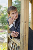 The groom looks at somebody - a portrait — Stock Photo