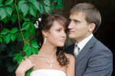 Bride and groom outdoors park closeup portrait — Stock Photo