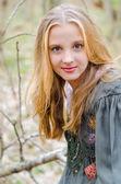 Picture of blonde girl in ethnic folk dress — Foto de Stock
