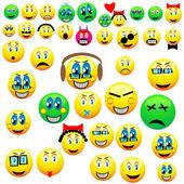 Many emoticons — Stock Vector
