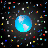 The planet earth surrounded by icons — Stock Photo