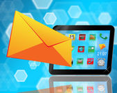 Envelope and tablet — Stock Photo