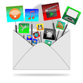 Icons in the envelope — Stock Photo