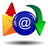 Envelope, arrows and blue ball — Stock Vector