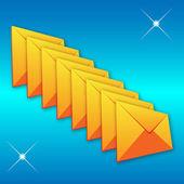 Gele envelop op een blauwe achtergrond — Stockvector