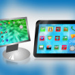 Monitor and tablet — Stock Photo