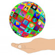 Human hand supporting the sphere consisting of web icons 24.06.1 — Stock Photo
