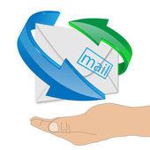 Lidská ruka podporující obálky 24.06.13 — Stock fotografie