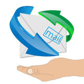 Human hand supporting the envelope 24.06.13 — Stock Photo