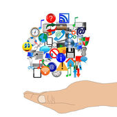 Human arm supports many web icons 24.06.13 — Stock Photo