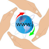 The planet Earth and the human hands 27.06.13 — Stock Photo