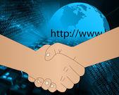 インターネット ハンドシェイク — ストック写真