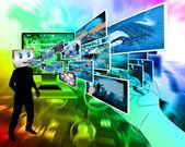 Cheerful computer — Stockfoto