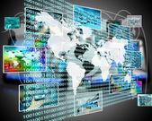Die Erde und Binär-code — Stockfoto