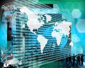 The Earth and binary code — Stock Photo
