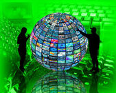 Sphere and silhouettes — Stock Photo