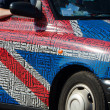 London-Taxi-Union Jack - Stock Photo