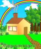 House in woods — Stock Vector