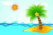 Island in tropical sea — Stock Vector