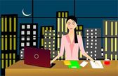 Business woman working late night — Stock Vector