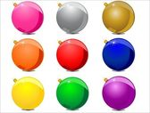 Christmas balls in nine colors — Stock Vector