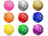 Christmas balls with snow flakes pattern — Stock Vector
