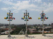 Stained glass weather vane sculpture — Stock Photo