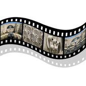 Filmový pás s kaskády budovy — Stock fotografie
