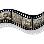 Film strip with cascade building — Stock Photo