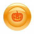 Stock Vector: Golden button with halloween pumpkin
