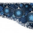 Flyer with Blue Christmas balls on blue background — Stock Photo #39682443
